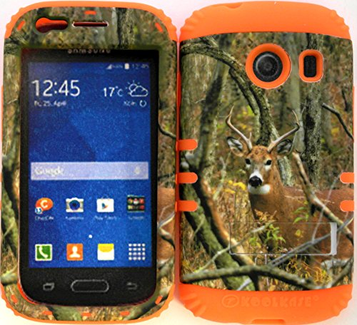 Wireless Fones TM Hybrid Impact Dual Layer Cover Case for Samsung Galaxy Ace Style S765c Straight Talk, Net10 and TracFone Real Deer Camo Mossy on Orange Skin (Camo Cases For Samsung Galaxy Ace compare prices)