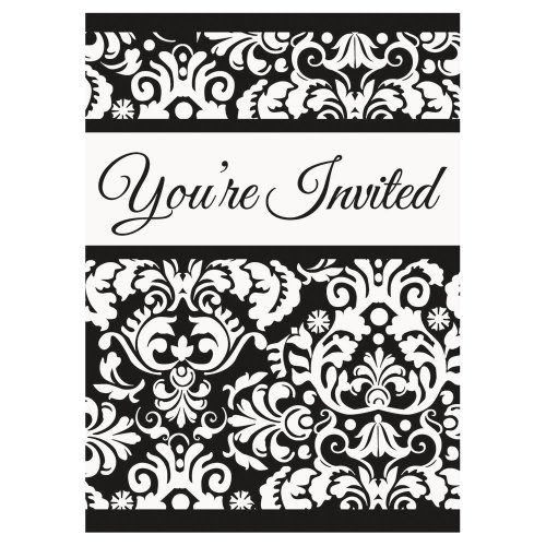 Black Damask Invitations, 8ct