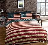 Bettwsche-Doppelbett-Amerikanische-Flagge-USA-Wendebettwsche-Baumwolle-Blau-Decke-Bezug