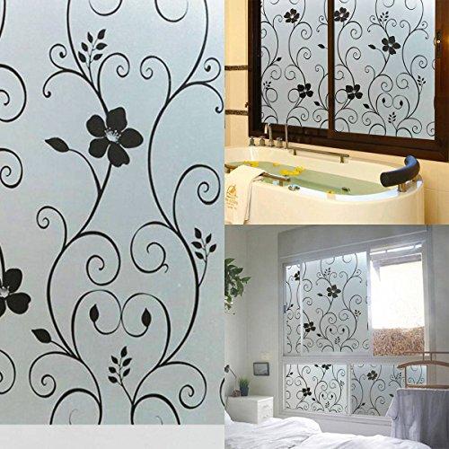 king do way 40x100cm sichtschutzfolie milchglasfolie folie schwarz blume deko selbstklebend. Black Bedroom Furniture Sets. Home Design Ideas