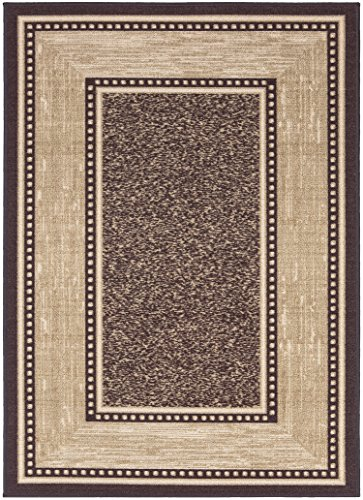Ottomanson Ottohome Collection Contemporary Bordered Design Modern Area Rug with Non-Skid (Non-Slip) Rubber Backing, Chocolate