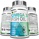 Omega 3 Fish Oil Pills - 180 Count - 3,000mg Per Serving - 915mg EPA 630mg DHA Per Serving - Rich in Essential Fatty Acids - Molecularly Distilled for High Potency - Made in a USA Based Nongmo Laboratory - 100% Pure and Sustainably Sourced From Deep Ocean Waters - No Fish Burps