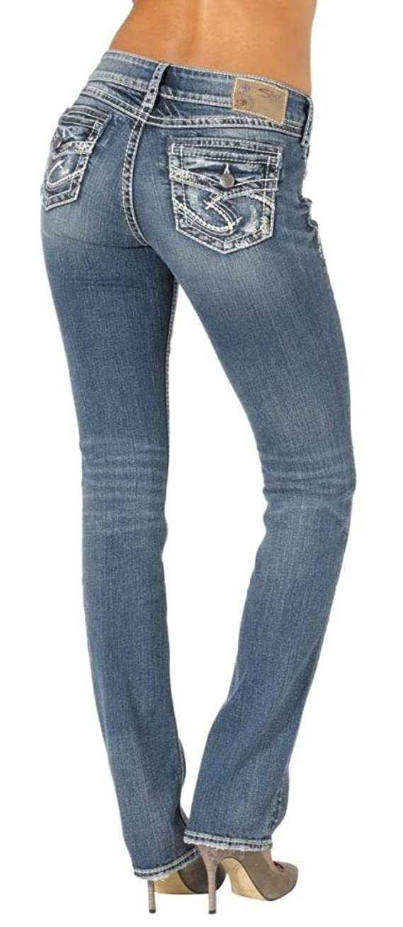 Silver Jeans Women Suki Baby Bootcut Mid Rise Faux Flap Stretch in Blue