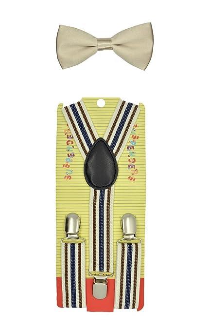 CUTE Baby Toddler Kids Children Boys Stripe Elastic Suspender& Bow Tie Set