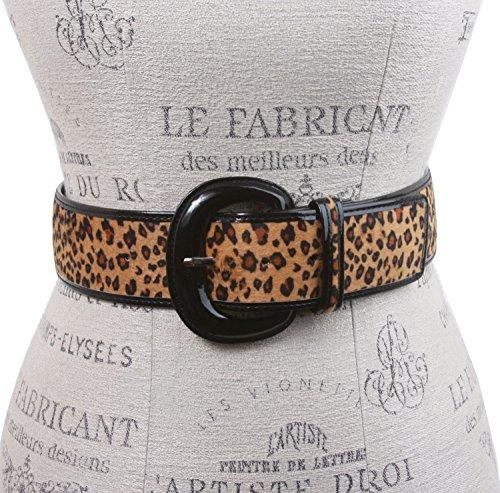 Ladies Patent Leather Leopard Print Animal Fur Fashion Belt Size: S/M - 32 Color: Beige