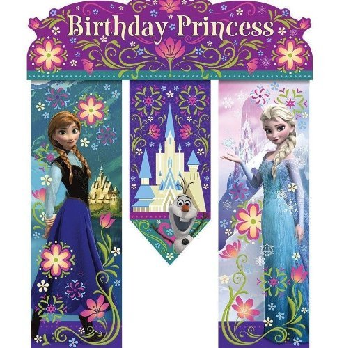 NEW Disney's Frozen Birthday Princess Party Door Banner 26in Anna,elsa and Olaf!