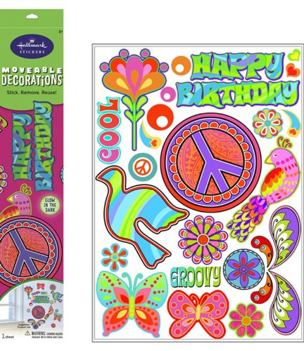 Peace Signs Glow in the Dark Removable Wall Decorations Party Accessory