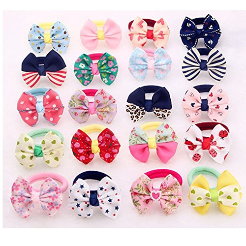 Joytutu 10pcs/ Pack Cute Elastic Hair Band Colorful Ponytail Holder Bow Tie (For Kid Girls)
