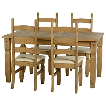 Corona 5' Dining Set in Distressed Waxed Pine/Cream PU