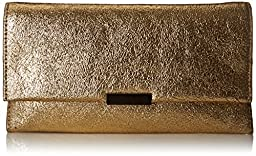 LOEFFLER RANDALL Tab Vintage Mirror Leather Foldover Clutch, Gold, One Size