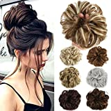 Lelinta Hair Bun Extensions Wavy Curly Messy Hair Extensions Donut Hair Chignons Hair Piece Wig Hairpiece (Color: Dark Brown Mix Ash Blonde, Tamaño: onesize)