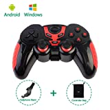 PinPle Bluetooth Game Controller Wireless Rechargeable Gamepad with Clip - Support Android / Windows - for Smartphone / Tablet / PC / TV Box (Red) (Color: Red)