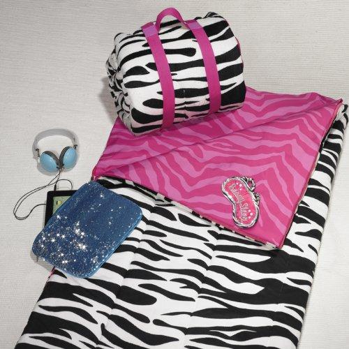Reversible Sleeping Bag Zebra Pattern Print Pink Black