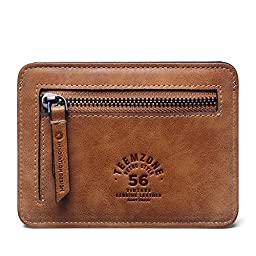 Teemzone Men\'s Slim Leather Wallet Front Pocket Credit Card Holder Coin Pouch (Brown)