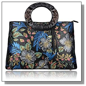 Pijushi Embossed Cowhide Leather Tote Style Ladies Convertible Top Handle Bag Cross Body Messenger Handbag 6016 (One Size, Black Floral)