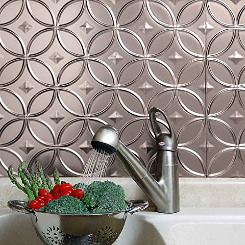 Fasade easy installation rings brushed nickel backsplash for Easy kitchen backsplash kits