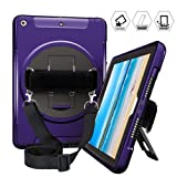 iPad 9.7 Inch Case 2018/2017 Released, iPad 5th/6th Gen Heavy Duty Three Layer Rugged Shockproof Protective Case with 360 Degree Swivel Stand & Shoulder Strap & Hand Strap for iPad 9.7inch (Purple) (Color: iPad 2017/2018 9.7-Purple 01)