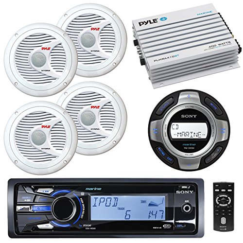 Sony DSXMS60 Marine Boat Yachht MP3 USB iPod iPhone Stereo AM/FM Radio Receiver & Sony RMX60ML Wired Remote Commander Marine Audio Stereo Controller With 4 X 6.5″ Inch Marine Boat Yacht Outdoor Stereo Speakers System And Marine Boat Amplifier,400 Watt 4-C