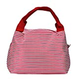 Canvas Stripe Fashion Lunch Tote Bag Lunch Bag Grocery Bags With Zipper, Red
