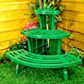 Great Ideas 3-tier Corner Etagere Potted Plant Display Stand - Quarter Circle For Indoor & Outdoor Garden Use - Ideal For Flowerpots And Shrubs In Pots