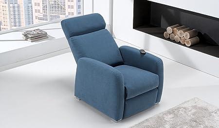 Poltrona Relax 1 Motori Elevabile Modello Lara Motorizzata Tessuto Antimacchia Blu 100 % Made in Italy - Orthomatic®