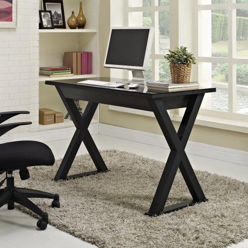WE Furniture Elite Metal Computer Desk, Black Glass