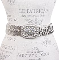 """Oval Rhinestone 1 3/4"""" Elastic Sequent Metal Stretch Belt Size: One-size-fits-all Color: Silver"""