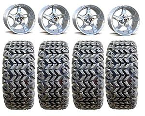 Fairway Alloys Rallye Golf Wheels 12″ EFX Blade 23×10.5-12 Tires EZ-GO/Club Car