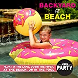 """MDRN Party 48"""" Donut Pool Float with Doughnut Hole Beach Ball - Giant Inflatable Pool Lounger"""