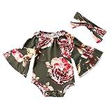 Newborn Baby Girl Floral Bodysuit+Headnband 2pcs Summer Flare Sleeve Jumpsuit 0-24Months(18-24 Months, Green) (Color: Green, Tamaño: 18-24 Months)