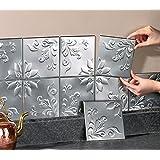 Tin Kitchen Backsplash Tiles - Set Of 14 Silver