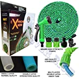 EVER RICH GREEN 100FT EXPANDABLE GARDENHOSE LIGHT WEIGHT NON KINK WATER SPRAY NOZZLE WITH CONNECTORS AND ON/OFF VALVE, STRONG OUTER SIDE WEBING WITH 600X600D FABRIC AND INNER HOSE COMES WITH DURABAL DOUBALE LAYER