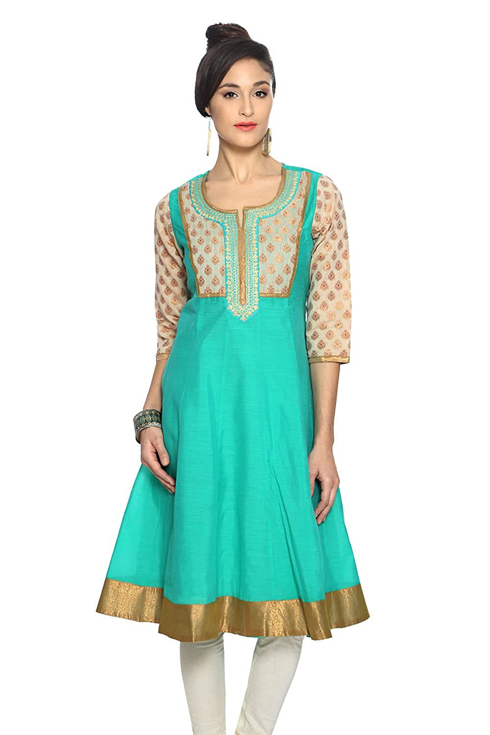 Rangmanch by Pantaloons Womens Cotton Brocade Anarkali Kurta