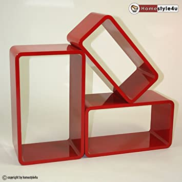 homestyle4u retro cube design wandregal wandboard regal w rfel 3er set rot oval da765. Black Bedroom Furniture Sets. Home Design Ideas