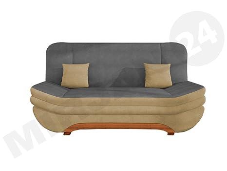 Sofa Weronika Style mit Bettkasten und Schlaffunktion, Couch vom Hersteller, Microfaser, Schlafcouch, Schlafsofa, Wohnlandschaft (Alova 07 + Alova 36)