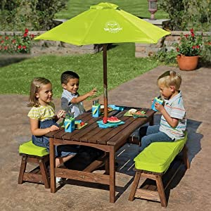 Kids picnic table benches with umbrella - Children s picnic table with umbrella ...