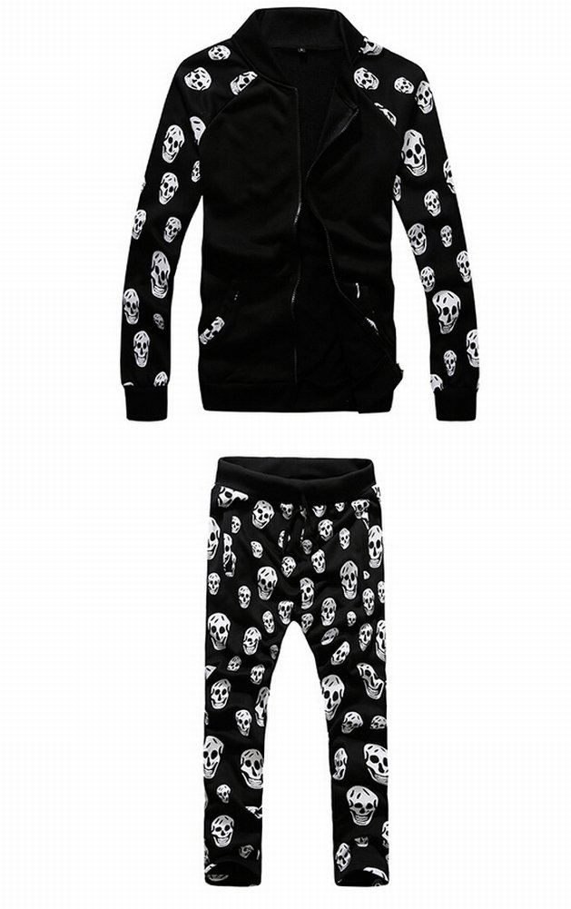 Mens womens Casual skull sport Zipper Hoodies Jackets+Pants Suit autumn