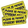 "Zone Tech ""Please Be Patient Student Driver"" Vehicle Bumper Magnet - 3-Pack Premium Quality Neon ""Please Be Patient Student Driver"" Safety Sign Bumper Magnet"
