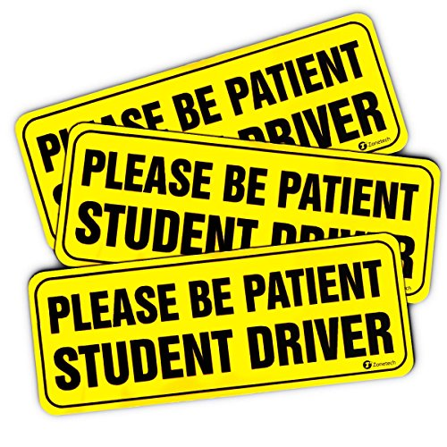 Zone-Tech-Please-Be-Patient-Student-Driver-Vehicle-Bumper-Magnet-3-Pack-Premium-Quality-Neon-Please-Be-Patient-Student-Driver-Safety-Sign-Bumper-Magnet
