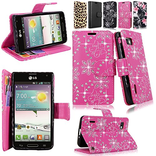 Cellularvilla Wallet Case for LG Optimus F3 LS720 MS659 Pu Leather Wallet Card Flip Open Pocket Case Cover Pouch (Pink Glitter) (Lg F3 Wallet Case compare prices)