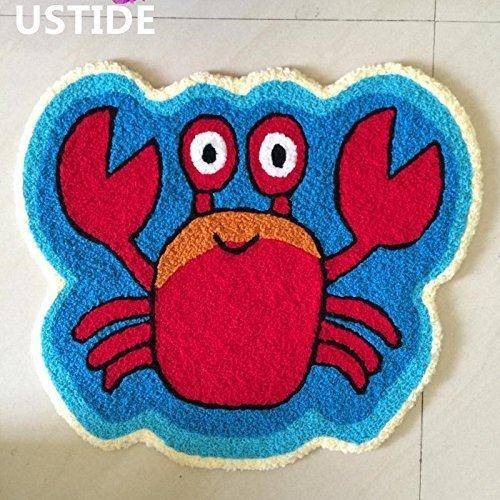 Ustide Cute Crab Rug Blue Handmade Bath Mat Animal Rugs for Kids Washable Non-Skid Floor Rug Toilet/Foyer Mats Small