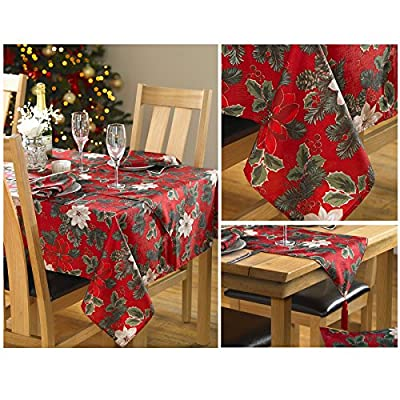 Poinsettia Christmas Table Cloth With Festive Floral In Red Green - Traditional