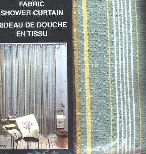 Cheap Mon Tex Colony Stripe Green White Yellow Brown Mon Tex Fabric Shower Curtain On Sale