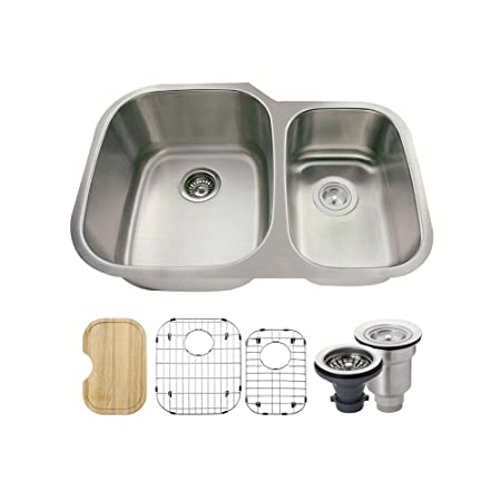 The MR Direct 506L 18 Gauge Stainless Steel Kitchen Ensemble (Bundle - 6 Items: Sink, Basket Strainer, Standard Strainer, 2 Sink Grids, and Cutting Board)