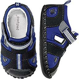 pediped Sahara Originals Fisherman Sandal (Infant/Toddler),Black King Blue,Small (6-12 Months)
