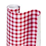 Smart Design Shelf Liner w/ Decorative Adhesive - Washable Cutable Material - Non Slip & Peel Design - for Shelves, Drawers, & Flat Surfaces - Kitchen (18 Inch x 20 Feet) [Antique Bisque Lattice] (Color: Rudy Red Gingham, Tamaño: 18-Inch x 20-Feet)