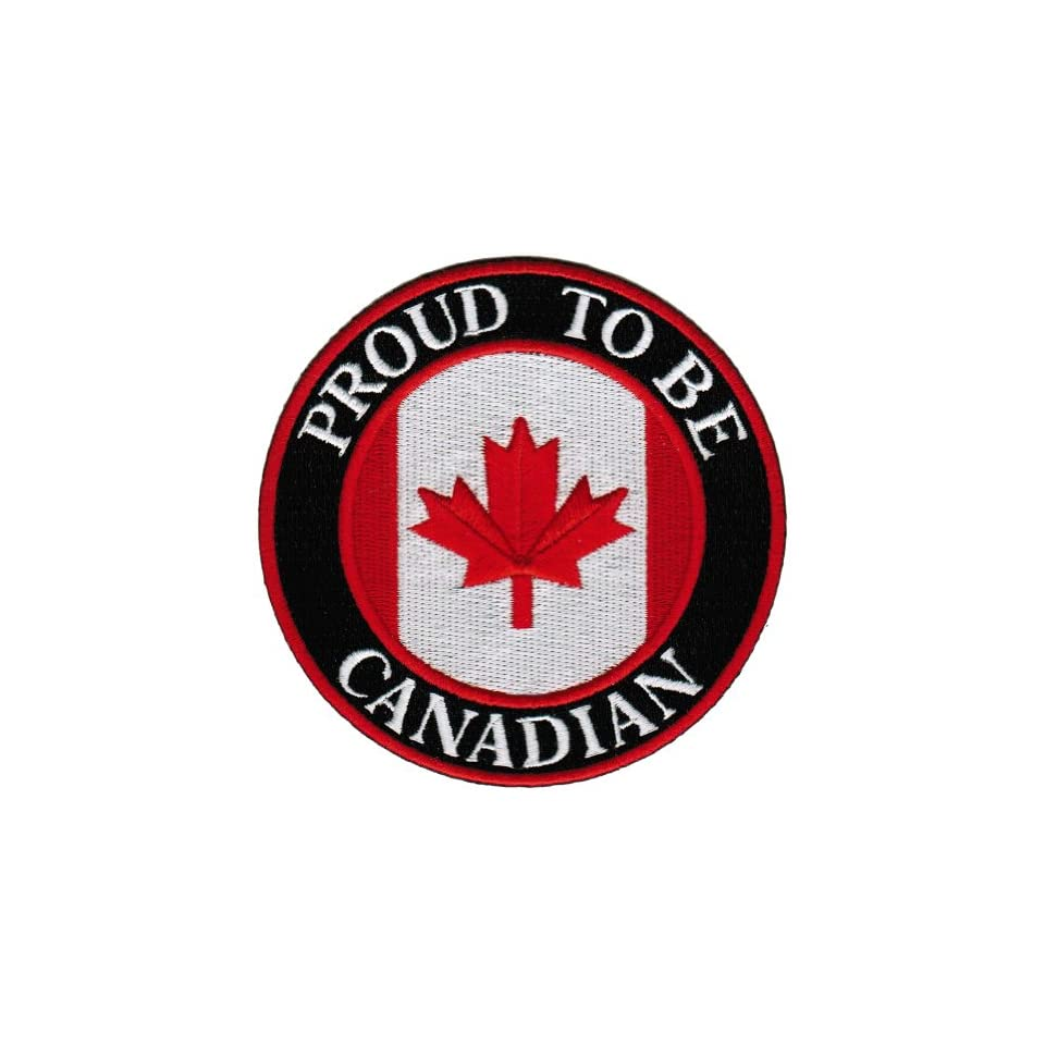Proud To Be Canadian Embroidered Patch Canada Maple Leaf Flag Iron On Biker Emblem