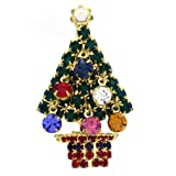 SoulBreeze Merry Christmas Jewelry Poinsettia Flower Tree Candy Cane Charm Brooch Pin (Tree 2 - Gld)