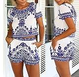 Kkos Women Short Sleeve Blue Tile Print 2 Pieces set Outfit Crop Top+short Pants