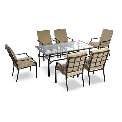 Set completo tavolo rettangolare + 6 poltrone cuscini beige inclusi arredo 06051